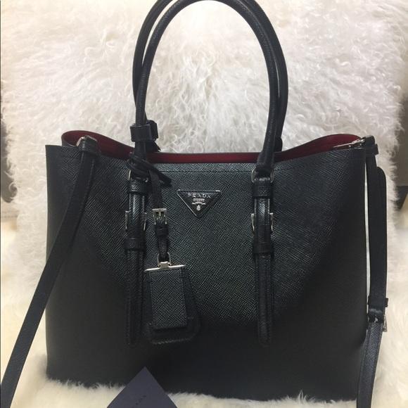 510fd3edb284 PRADA DOUBLE BAG SAFFIANO CUIR BLACK RED. M 5aa4dabadaa8f6c9e801d978